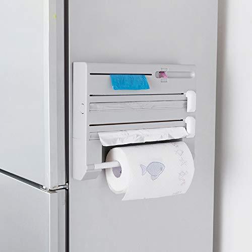 Keukenpapierhouder, keukenrolhouder, wandrolhouder van kunststof en folie 6 in 1 met kruidenrek 30 cm x 38 cm x 6,5 cm wit