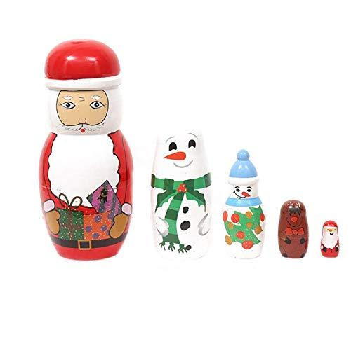 VIDOO Wooden 5 Layer Santa Claus Dolls Hand-Painted Russian Dolls Matryoshka Doll Wooden Crafts Christmas Decoration Ornaments Dolls
