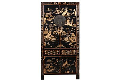 Yajutang - Armario para Bodas (Chapado en Oro), diseño de Paisaje, Color Negro