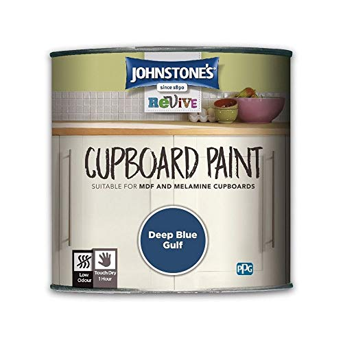 Johnstones Revive Cupboard Paint 750ml Deep Blue Gulf - Kitchen Melamine MDF Satin Finish