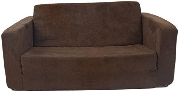 Fun Furnishings 55247 Toddler Flip Sofa In Micro Suede Fabric Chocolate