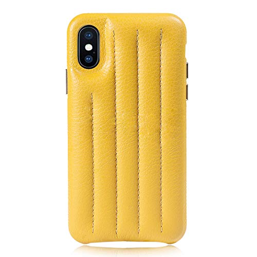 Cassenger Genuine Italian Leather Hard Back Case Protective Cover Snap On Case Compatible with iPhone Xs/iPhone X -Yellow
