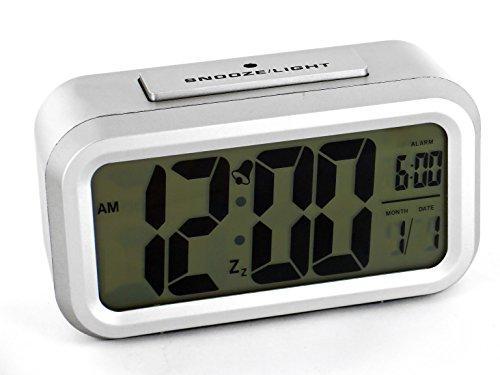 Sveglia elettronica con quadrante LCD con sensore ottico e funzione Snooze display cifre 4,3 cm, colore: argento