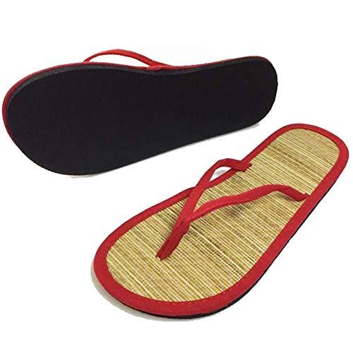 LXZH Zapatillas Unisex, Chanclas de Verano Antideslizantes Sandalias y Zapatillas de Interior con Punta Abierta, aptas para duchas de baño,Rojo,41