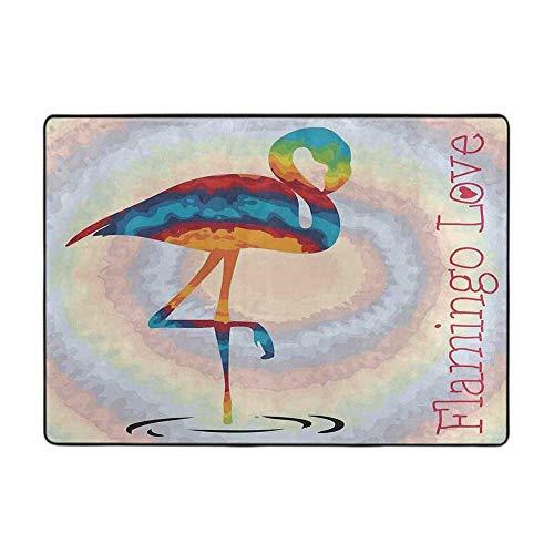 Polyester Rubber Door Mats Flamingo Single Flamingo Rainbow Colors Tie Dye Style Background Animal 48'x 72' Bath Rugs for Bathroom