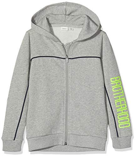NAME IT Jungen NKMRAMSEN SWE Hood Card BRU Sweatjacke, Grau (Grey Melange Grey Melange), 134/140 (Herstellergröße: 134-140)