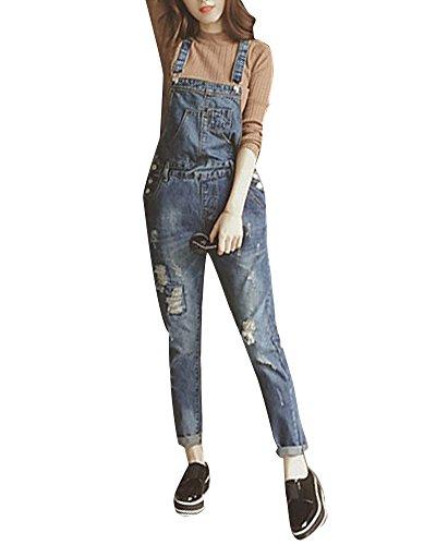 Damen Jeans-Latzhose Denim Boyfriend-Cut im Stone Washed Look und Used-Look Slim Jumpsuit Hosen Loose Fit 9052 XL
