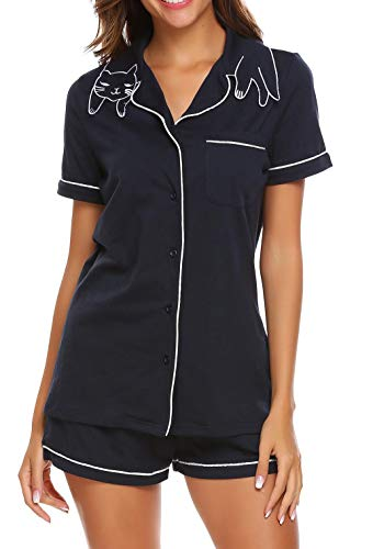 Meaneor Schlafanzug Damen Pyjama Atmungsaktiv Nachtwäsche mit Knopfleiste Atmungsaktiv Sleepwear Set inkl. Hose Bluse,Marineblau,L