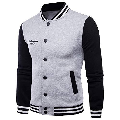 MAYOGO Herren Baseball Jacke Buttons Down Sweatshirt Herren Casual Jacke Männer Übergangsjacke Sportjacke Atmungsaktiv Outdoor Jacke Trainingsjacke