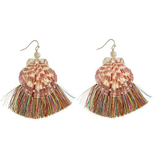Tata Gisèle - Pendientes colgantes de concha con detalle de pompa multicolor y perla blanca