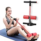 AmazeFan Sit Up Bar with Resistance Bands, Portable Adjustable Sit Up Assistant Device, Ab Workout Equipment with Suction Cups, Support Rode, Ab Exercise Machine for Home Work Travel (Red)