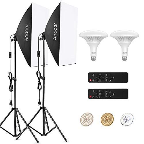 Andoer Softbox kit, LED Video Luce con Softbox Lightbox 20 x 28 pollici, 2 lampadine a risparmio energetico da 150 W, con Telecomandi
