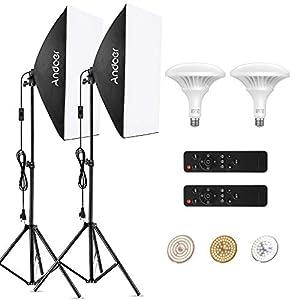Andoer Softbox Kit iluminacion Fotografia con Control Remoto de Bombilla Ajustable 150W LED, Temperatura de Color 3000K-6000K,2 50x70cm Softbox y Tripodes para Estudio Fotográfico Profesional