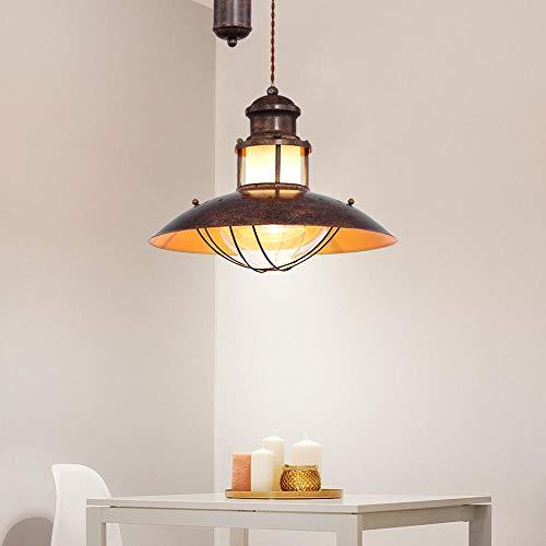 LED Decken Hänge Lampe Landhaus braun Wohn Zimmer Zug Pendel Leuchte Filament