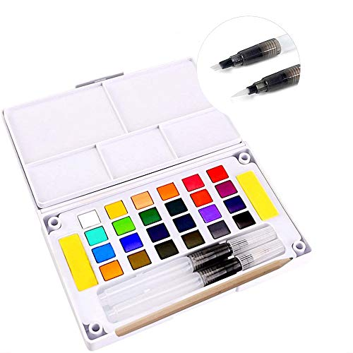 Watercolor Paint Sets Premium Colors Paint Kits with 2 Watercolor Paint Brush Pens Pencil Palette Professional Art Supplies Painting Gifts for Adults, Beginners, Kids & Students (24 Colors)