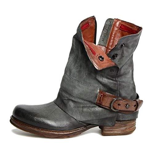 Leder Stiefe für Damen Retro Blockabsatz Stiefeletten Frauen Bequeme Schuhe mit Rutschfester Sohle Mode Herbst Winter Casual Boots Schuhe Stiefel A Grau 40 EU