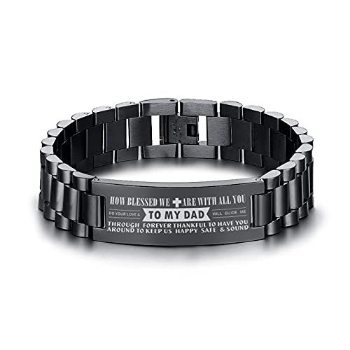 Classic style Jewellery Bracelet Dad Bracelets For Men Black Stainless Steel Heavy Wide Bangle Wristband Personalized Un