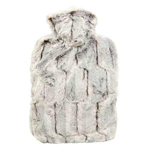 Hot Water Bottle with Cover - Hot Cold Pack Made of Burst Resistant Thermoplastic with Fleece Sleeve Helps Relieve Muscle Aches & Pains, Menstrual Cramps (1.8L Faux Fur, Brown/Silver)
