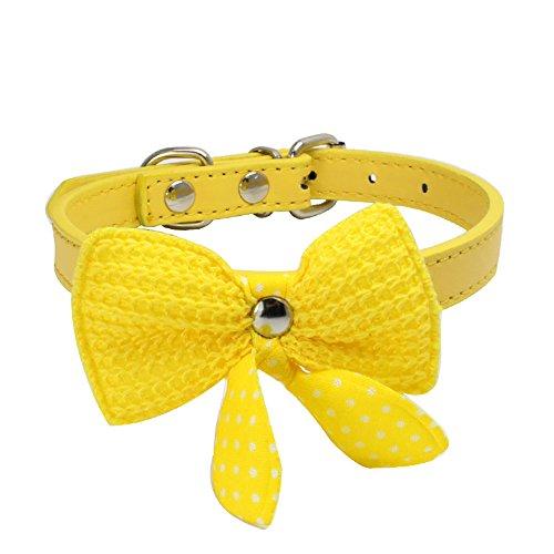 Knit Bowknot einstellbare Leder Hund Welpen Haustier Halsbänder Halskette (2 * 42cm,1Gelb)
