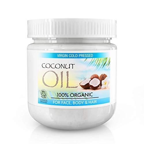 Kokosöl für Haut- & Haarpflege - 100% biologisches, kaltgepresstes, natives Kokosnussöl - Natürliches Öl für Haar, Haut & Gesicht; Massageöl, Haarwuchsmaske, Dehnungsstreifen - 500 Milliliter