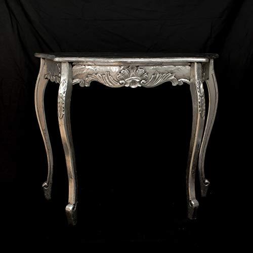 Rococo Consola Carving de Madera en Plata Envejecida