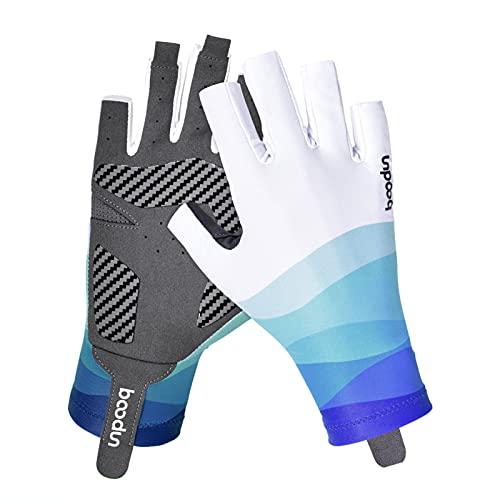CSKJ Guantes de pesca con protección solar UPF 50+, guantes transpirables sin dedos, para kayak, remo, senderismo, ciclismo, conducción, tiro (camuflaje azul, S/M)