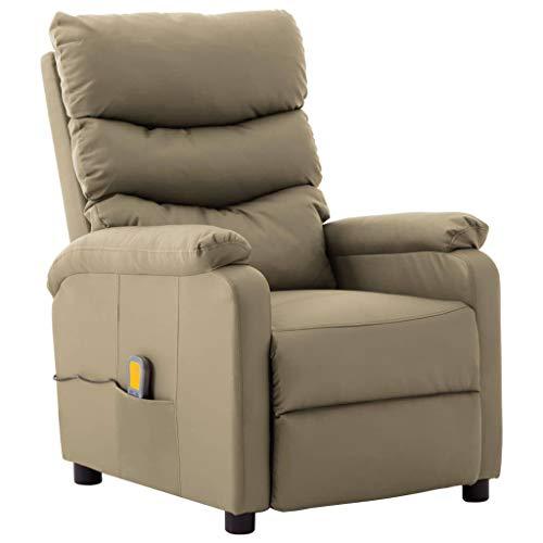 vidaXL Massagesessel mit Heizfunktion Fernsehsessel Relaxsessel Liegesessel TV Sessel Ruhesessel Polstersessel Ledersessel Cappuccino-Braun Kunstleder