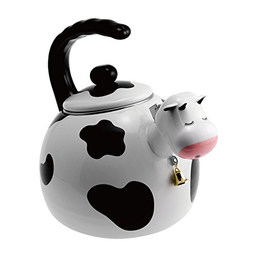 Cow White and Black Whistling Tea Kettle