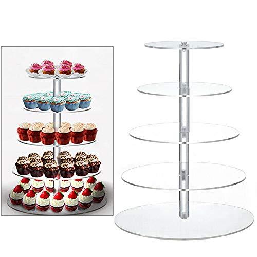 WUPYI2018 Tortenständer, Cupcake Ständer Runde Kuchen Hochzeitstorte Kuchenständer Kuchen Gestell für Geburtstag Feier Party Hochzeit Deko (5-Etagere)