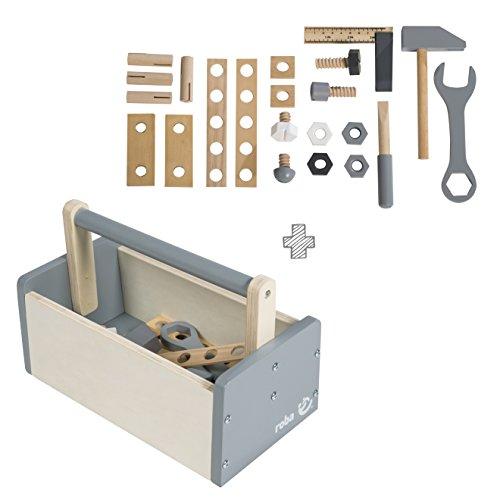 roba 97212 Werkzeugkiste, Werkzeugzubehör 22-teilig, inklusiv Hammer, Schraubenschlüssel, Messwinkel, Schraubendreher, Schraubplatten, Muttern, Schrauben, mehrfarbig