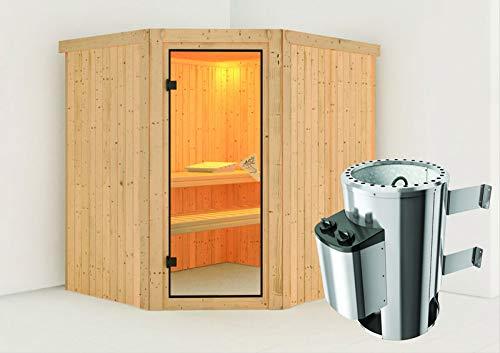 Lilja - Karibu Sauna Plug & Play inkl. 3,6 kW-Ofen - ohne Dachkranz -