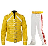 CHICAGO-FASHIONS Mens Freddie Mercury Faux Leather Jacket Wembley Tribute Concert Belted Yellow Costume