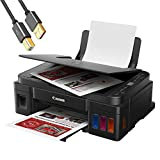 Canon PIXMA G32xx Series Wireless MegaTank All-in-One Color Inkjet Printer, Copier, Scanner, and Borderless Mobile Printing for Home Office - Black - 4800 x 1200 dpi - ORPHYER 10 Feet Printer Cable