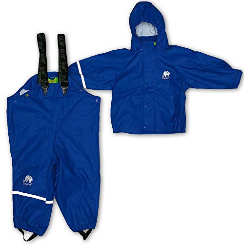 Celavi Kinder Unisex Regen Anzug, Jacke und Latzhose mit Hosenträgern, Alter 3-4 Jahre, Größe: 100, Farbe: Blau, 1145