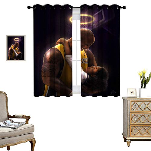 DRAGON VINES Living Room Grommet Insulation Curtain Windproof Curtain Kobe Bryant Holding his Daughter Decorative Shading Set of 2 Panels W55 x L72