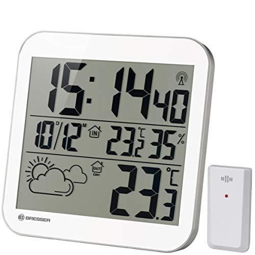 Bresser Wanduhr MyTime LCD Wetter-Wanduhr mit Außensensor, weiß