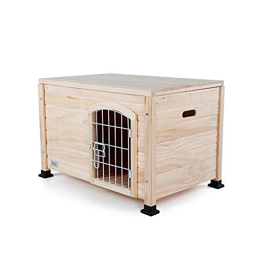 Petsfit Hundehütte Hundehaus Indoor aus Holz für kleine Hunde und Katze,Holzfarbe,Geeignet für DIY Handarbeit