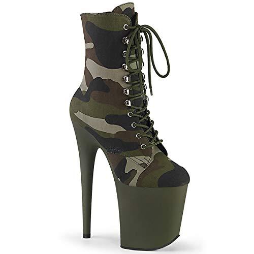 Pleaser Damen FLAMINGO-1020CAMO Plateau High Heels Stiefelette Stoff Camouflage 39 EU