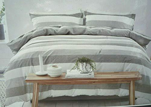Silentnight Cotton Rich Duvet Set - Grey Stripe Duvet Cover & Pillowcases - Double
