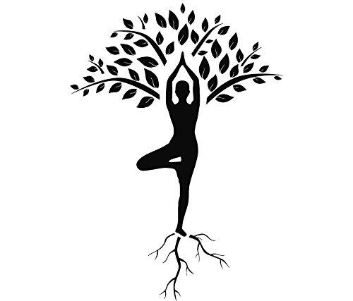 Calcomanías para pared con diseño de árbol de gimnasia, para yoga, meditación, gimnasio, decoración del hogar, murales de diseño interior (MN928) (135 cm de alto x 96 cm de ancho)