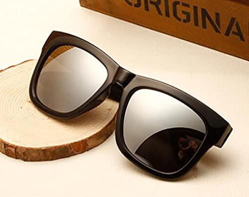 Secuos Moda Gafas De Sol De Moda Mujer Espejo Diseñador De La Marca Negro Revestimiento Lente Gafas De Sol Cuadradas Uv400 Plata