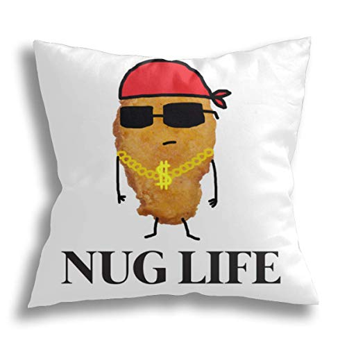 HCLIFE - Funny Nug Life Kissenbezug mit Huhn-Motiv, dekorativ, quadratisch, Standard-Kissenbezug, für Sofa, Bett, 45,7 x 45,7 cm
