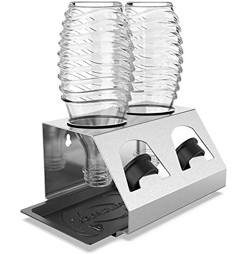 SodaClean® Premium Flaschenhalter aus Edelstahl mit Abtropfwanne - für SodaStream und Emil Flaschen | spülmaschinenfest Abtropfständer Abtropfgestell inkl. Deckelhalterung | Crystal Easy Power (2er)