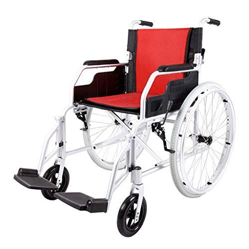 DYG Leichter manueller Rollstuhl, zusammenklappbarer Aluminium-Schnellspanner für das Hinterrad der Luft- und Raumfahrt kann im Kofferraum des Autos verstaut Werden