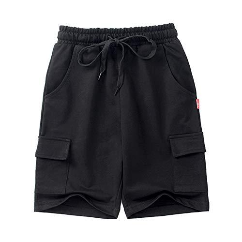 kids4ever Schwarz Jungen Shorts 9-10 Jahre Bequeme Kordelzug Sweathose Kinder Sommer Outdoor Beiläufig Sportlich Training Kurze Hose mit Taschen