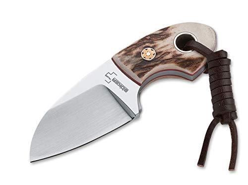 Böker Plus Cuchillo de Cuello EDC GNOME Ciervo con Hoja de Acero 440C de 5,6 cm y empuñadura de Ciervo de 4,1 02BO268 para Caza, Pesca, Supervivencia y Bushcraft + Portabotellas de Regalo