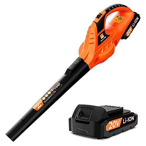 VacLife Leaf Blower, 20V Cordless Leaf Blower with Powerful Motor & Long Runtime, Lightweight Leaf Blower with 2 Airflow Modes for Snow Blowing & Lawn Care, Model: LB-570, Orange (VL707)