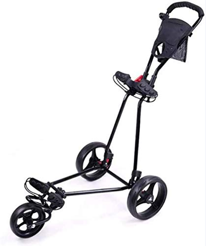 Lightweight Foldable Golf Trolley, Golf Push Cart with Adjustable Push Handle, Foot Brake, and Scorecard, 3 Wheel Push Pull Golf Cart,ONE Second to Open & Close