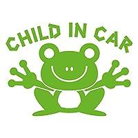 imoninn CHILD in car ステッカー 【シンプル版】 No.22 カエルさん (黄緑色)