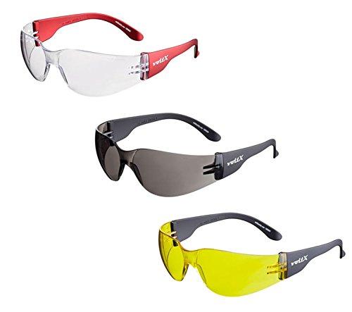 3 x voltX 'Grafter' Leichte Industrieschutzbrillen, CE EN166F Zertifiziert/Radsport Sportbrillen (Mischfarben Linsen) Anti-Fog und Anti-Kratzer. UV400 Linse - Safety Glasses
